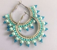 Seafoam green and aqua beaded hoop earrings