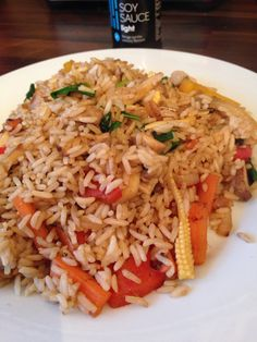 Syn free Vegetable fried rice with a splash of soy sauce