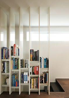 Home Library ~ stair railing bookshelves
