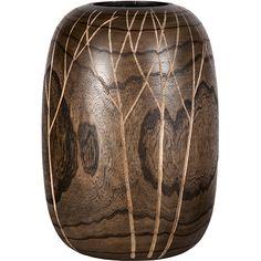 Vaso Decorativo de Madeira Entalhado Nusa Dua Marrom - (39x29x29cm)
