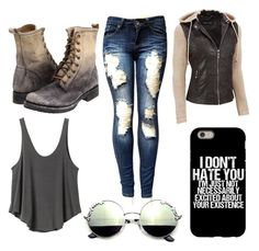Runaway by cmankin on Polyvore featuring polyvore fashion style RVCA Frye clothing