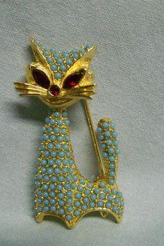 Vintage  Mid Century Modern Cat Pin Turquoise Blue Ruby Red Rhinestone   eBay