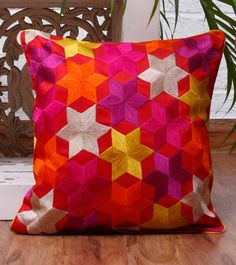 Phulkari cushion cover