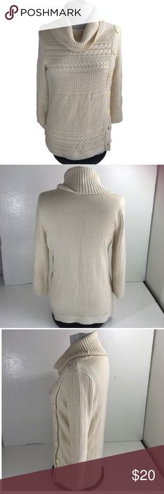 """Banana Republic Cable Knit Cowl Neck Sweater Med Banana Republic Cable Knit Cowl Neck Sweater Medium Women's. No fading or pilling! Great Condition! 23"""" arm pit to arm pit. 28"""" length. Banana Republic Sweaters Cowl & Turtlenecks"""