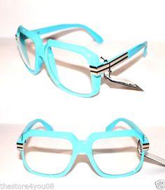 Men-039-s-Vintage-607-Design-Clear-Lens-Eye-Glasses-Run-DMC-Hip-Hopl-blue-Silver
