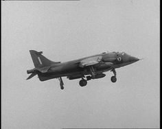 A Harrier Jump Jet demonstrates vertical take-off in this 1968 film: http://www.britishpathe.com/video/harrier-plane