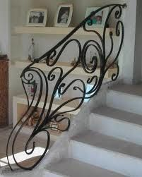 Forged Staircase Railing.  Free form scrolls