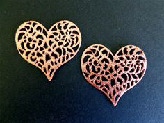 24 ROSE GOLD Sugar Cake Lace Doilies Hearts Edible Wedding