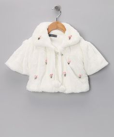 Take a look at this White Seashell Pom-Pom Minky Shrug - Infant by S Square on #zulily today!