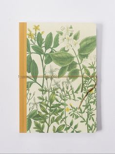 Jasmin. Handmade bind fold notebook, Journal, Diary, Floral motive, Historical illustration, special design wrapp, red yarn