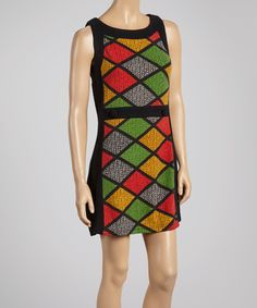Look what I found on #zulily! Green & Gold Stained Glass Sleeveless Dress by Aryeh #zulilyfinds