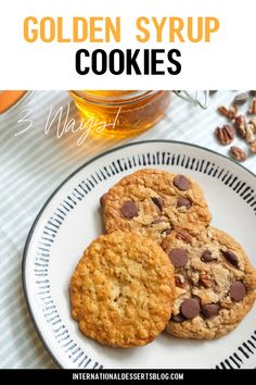 You've got to try these classic golden syrup cookie recipe! Super easy to make and they taste amazing. Make them with oats, chocolate chops or add pecans for even more flavor. Perfect for afternoon tea or anytime. These easy cookies are a traditional favorite! Click to learn how to make them now! #cookies #easyrecipes