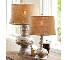 Antique Mercury Glass Table & Bedside Lamps #potterybarn