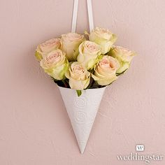 White Metal Cone with Embossed Rose Pattern