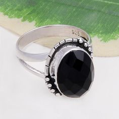 925 STERLING SILVER LADIS BLACK ONYX CHAKER CUT RING 4.83g DJR4419 #Handmade #Ring