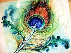Watercolour peacock feather masking fluid
