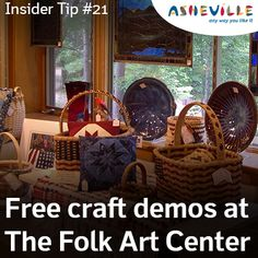 The Folk Art Center offers amazing hand-crafted art - plus, free craft demos! Visit Asheville, Postcard Book, Living In Europe, Free Things To Do, Craft Shop, Blue Ridge, Craft Work, Folk Art, Arts And Crafts