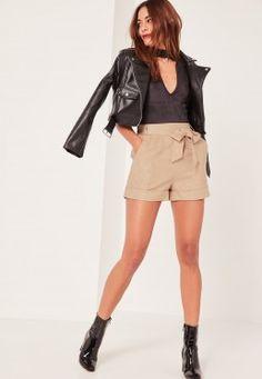 Caroline Receveur Tan Faux Suede Tie Belt High Waisted Shorts
