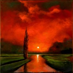 Red Surreal Landscape w Tree Original Paintingpainting by artist Toni Grote