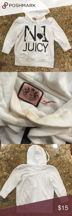 Juicy couture white puffed sleeve sweatshirt small ⚡️SHIPPING &FREETOP-RATED SELLER % REPUTABLE eBay SELLER ✔️FEEDBACKS @ http://ebay.to/29sr08u                                                10% off bundle deals + 3                              No trades or low ball offers No holds. Sweater condition is about 7/10.  Has makeup stain shown on the photo. Juicy Couture Sweaters