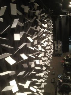 "Stage design idea: wall of ""falling"" cards"