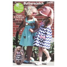 Olive Ann Designs Butterscotch Dress & Doll Dress Pattern from @fabricdotcom  Designed by Olive Ann Designs, this pattern contains detailed instructions and pattern pieces to make your own sundress and matching doll dress.  Sizes range from girls 2-10. <br><a href=https://s3.amazonaws.com/fabric-pdf/0333176-1.jpg>Click here for pattern back.</a>