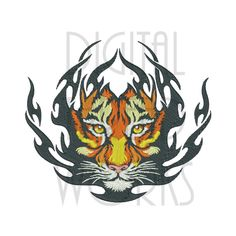 Welcome to DIGITAL THREAD WORKS!  This machine embroidery design listing is a striking Flaming Tiger Face pattern. It is a digital computer file only for use with embroidery machines. It is not an applique, patch, or any other finished item. For my more dense designs, I strongly encourage using at least a medium weight cutaway stabilizer.  Formats Included: DST, EXP, HUS, JEF, PES, VIP, SEW, XXX  The file(s) you receive at purchase is zipped and must be UNZIPPED for use, and then transferred…
