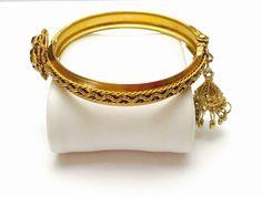 Vintage Art Deco Bracelet hinged Gold tone Retro Boho by ESTATENOW #EtsyEur #vintage #jewelry #gold #artdeco