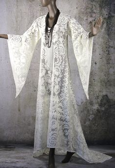 Hippie Boho Gypsy Lace Wedding Bridal Dress Gown by LaineeLee