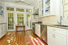 Georgetown DC rowhouse kitchen with a beautiful backyard view.