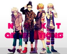 Mitsuki, Shikadai, Boruto, and Inojin #casual #boys #glasses