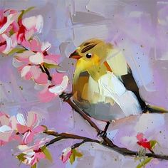 """Daily Paintworks - """"Goldfinch and Almond Blossoms"""" - Original Fine Art for Sale - © Angela Moulton"""