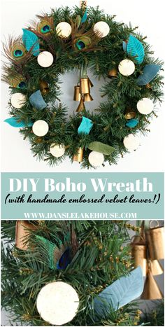 DIY Boho Wreath with DIY Embossed Velvet Leaves and Peacock Feathers. Love the MCM Vibes of the Battery Operated String Lights. DIY Holiday Wreaths for Front Door. DIY Wreaths with Dollar Store Supplies (Lights are From Dollarama) Christmas Wreaths For Front Door, Holiday Wreaths, Christmas Crafts, Christmas Decorations, Christmas Ornaments, Turquoise Christmas, Peacock Christmas, Decor Crafts, Diy Crafts