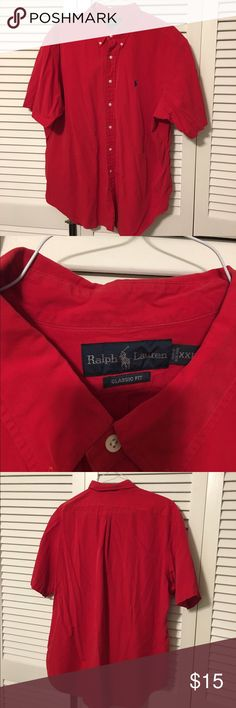 Men's short sleeve button down Men's short sleeve button down. Red shirt, classic fit, navy Polo horse. Worn a handful of times. Great condition with one small spot on collar (pictured). Haven't tried to remove, but expect it will come out. Polo by Ralph Lauren Shirts Casual Button Down Shirts