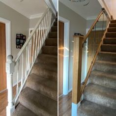 Our Wonderful Gallery of Staircases Refurbishments | Stairfurb's Gallery Oak Handrail, Staircase Railings, Stairs, Staircases, Oak Newel Post, Newel Post Caps, Wall Mounted Handrail, Stainless Steel Handrail, Stair Lighting