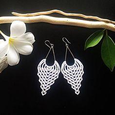 Sterling silver macrame earrings DIY beaded earrings white