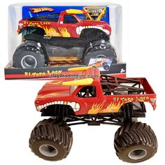 """Hot Wheels Year 2009 Monster Jam 1:24 Scale Die Cast Metal Body Official Monster Truck Series #T0230- Red EL TORO LOCO with Monster Tires, Working Suspension and 4 Wheel Steering (Dimension : 7"""" L x 5-1/2"""" W x 4-1/2"""" H)"""