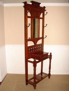 Arts & Crafts Era Oak Hall Tree Seat w Mirror c1910