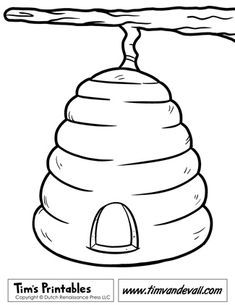 Beehive Coloring Page Bee Crafts Bee Template Bee Hive