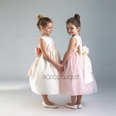 Precious Floral Twosome Extravagant Bow Ivory Girl Dress