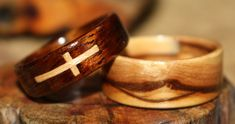 Touch Wood Rings, Custom hand made bent wood rings.