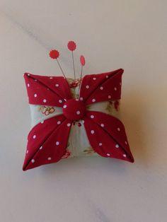 Pincushion/Cathedral Window/ Folded Star/ Handmade Pincushion/Red White Polka Dots, Celadon Green Floral Print by desandlisashop on Etsy