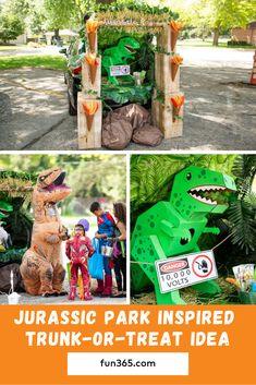 Jurassic Park inspirierte Trunk-or-Treat-Idee Holidays Halloween, Halloween Crafts, Halloween Party, Halloween Puns, Toddler Halloween, Trunk Or Treat, Jurassic Park Party, Halloween Table Decorations, Welcome To The Jungle