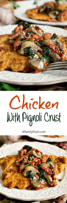 Chicken with Pignoli Crust - A customer favorite at the East Side Grill in Northampton, Massachusetts - this recipe has been on the menu for years!