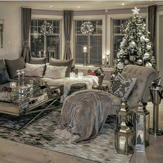 Silver living room decor living living room ideas together with ravishing photo black white and silver . Decor, Apartment Living Room, Christmas Living Rooms, Living Room Interior, Cozy Living, Living Room Grey, Silver Living Room, Interior Design, Living Decor