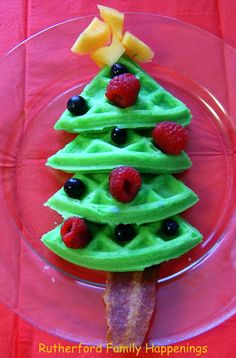 Christmas waffles - reminds me of my Uncle Gene... Loves to use green food coloring year round!