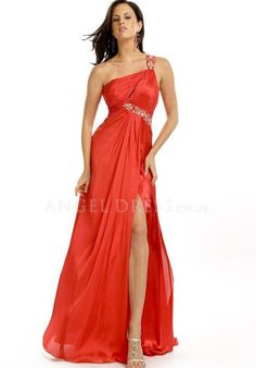 One Shoulder Chiffon Sheath/ Column Zipper Back Floor Length Sleeveless Evening Dress