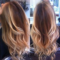 Ombre Hairstyles Colors | Golden beach ombre balayge hair color from @Alex Jones Jones Leichtman Navarro .