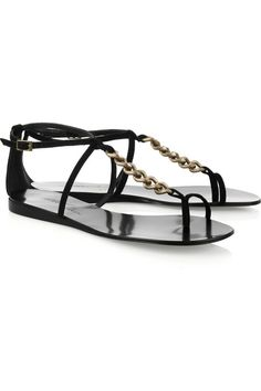 023b9717a1d434 Tapeet sandals have a pale gold-tone chain-link T-bar
