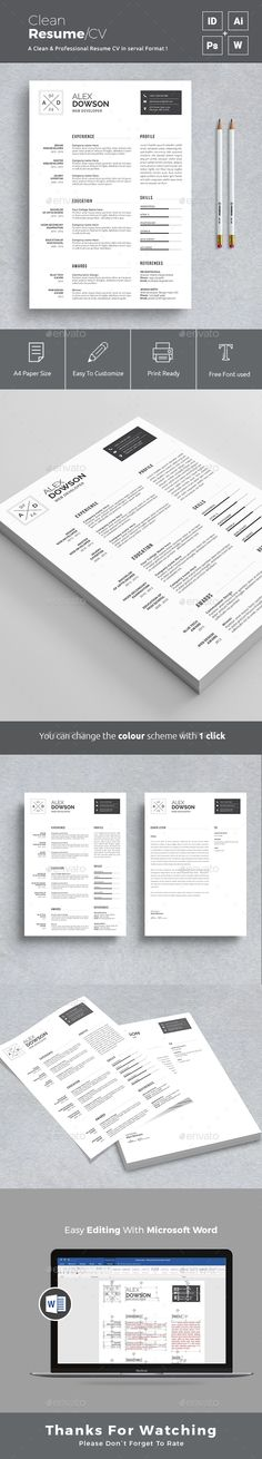 Resume A4 Template PSD, InDesign INDD, AI Illustrator, MS Word